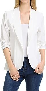 Women's 3/4 Ruched Sleeve Lightweight Work Office Blazer Jacket (S-3XL)