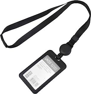 Skyzone porte-carte d'identité en plastique avec lanière tour de cou noir porte-badge d'identification lanière rétractable...