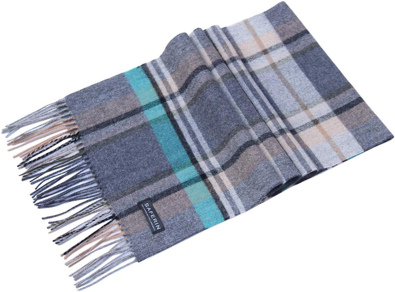 Gift Box Cashmere and Wool Plaid Winter Warm Soft Scarf for Women Men Black Grey Burgundy Plaid