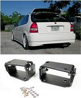 VXMOTOR - for 96-00 Honda Civic EK9 3DR Type R Spoiler CTR Wing Riser Lift Alex Tilt Brackets Black