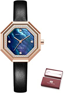 Andoer Women Quartz Watch Octagon Case Women's Fashion Watches with Crystal Diamonds Leather Strap 3ATM Waterproof Female ...