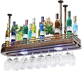 Organisation de Rangement de Cuisine Suspendu Support à vin en métal monté européen Fer et Bois Support de Verre à vin Sus...