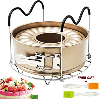 7 Inch Springform Pan Non-stick Leakproof 2 Removable Bottom with Steamer Rack Trivet for Cheesecake Pressure Cooker Accessories Set Fit Instant Pot Accessory 6qt 8qt