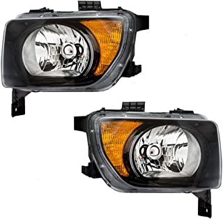 Driver and Passenger Halogen Combination Headlights with Chrome Bezels Replacement for 2003-2008 Honda Element EX LX 33151SCVA01 33101SCVA01
