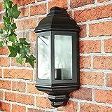 Aplique rústico en aluminio negro 230V y cristal para apliques de jardín/terraza en el exterior.
