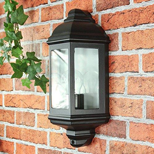 Rustikale Wandleuchte in schwarz 230V Wandlampe aus Aluminium Glas für Garten Terrasse Weg Lampe Leuchten außen