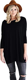 Women's Bamboo 3/4 Sleeve Tunic, Comfy Basic Dolman Style Tunic with Oversized Fit - 11 Colors Available
