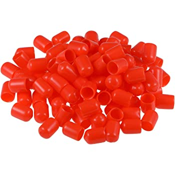 uxcell Rubber End Caps 12mm ID Round End Cap Cover Red Screw Thread Protectors 50pcs