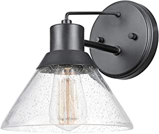Globe Electric 44264 Bolton 1-Light Outdoor Indoor Wall Sconce, Matte Black, Seeded Glass Shade