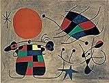 Joan Miro Giclee Lienzo Impresión Pintura póster Reproducción (Sonrisa con Las alas llameantes)