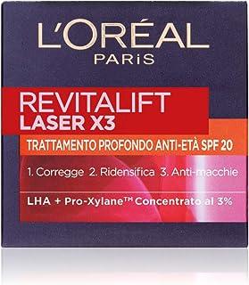 L'Oréal Paris Crema Viso Giorno Revitalift Laser X3, Azione Antirughe Anti-Età con Acido Ialuronico e Pro-Xylane, Protezio...