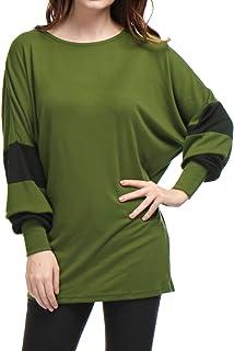 Allegra K Women's Color Block Scoop Neck Oversize Batwing Tunic Tops