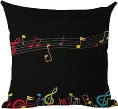 LivebyCare Music Printing Cushion Cover Linen Cotton Cover Throw Pillow Case Sham Pattern Zipper Pillowslip Pillowcase for...