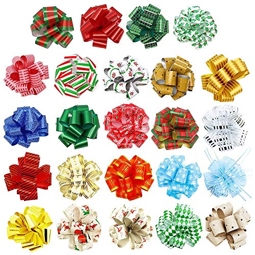 "48 PCs Christmas Gift Wrap Pull Bows (5"" Wide) with Ribbon for Boxing Day Decorations, Holiday Décor Present Wrapping."