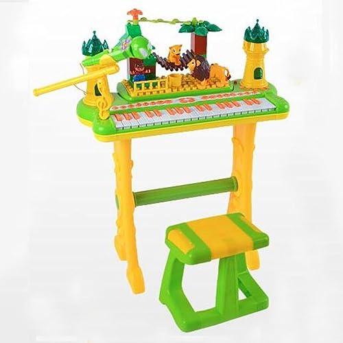 QXMEI Kinder Tastatur Mit Mikrofon Kopfürer U-Disk 37-Tasten-Tastatur Klavier (Grün Rosa),B