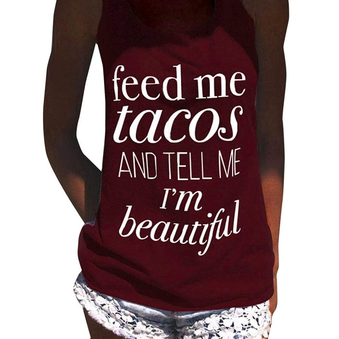 Women Tank Tops Funny Racerback Vest Sexy Cotton Tee Shirts Blouse Crop Tops