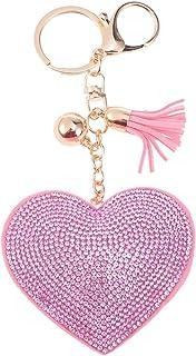 BESTOYARD Llavero Forma de corazón borlas Llavero Llavero de Cristal para el Bolso del Coche Colgante de la Llave (Rosa)