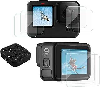 micros2u - Protector de pantalla (7 piezas) y tapa de lente para GoPro Hero 9 Hero9, color negro