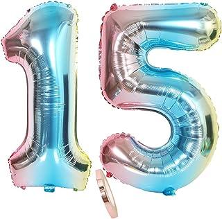"""globos numeros 15, globo número 15 arcoíris arco iris niña niño infantil,32"""" figuras helio inflable gigante grande iridiscentes de colores azul para decoración fiesta de cumpleaños 15 años (xxxl 80cm)"""