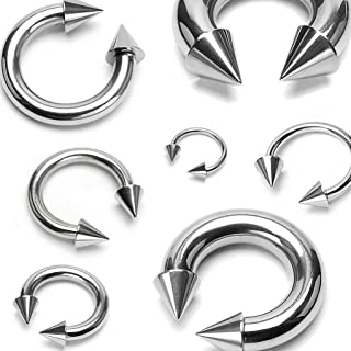 BCN SOLD IN PAIRS Spike Top Steel Horseshoe Circular Barbell 316L Surgical Steel