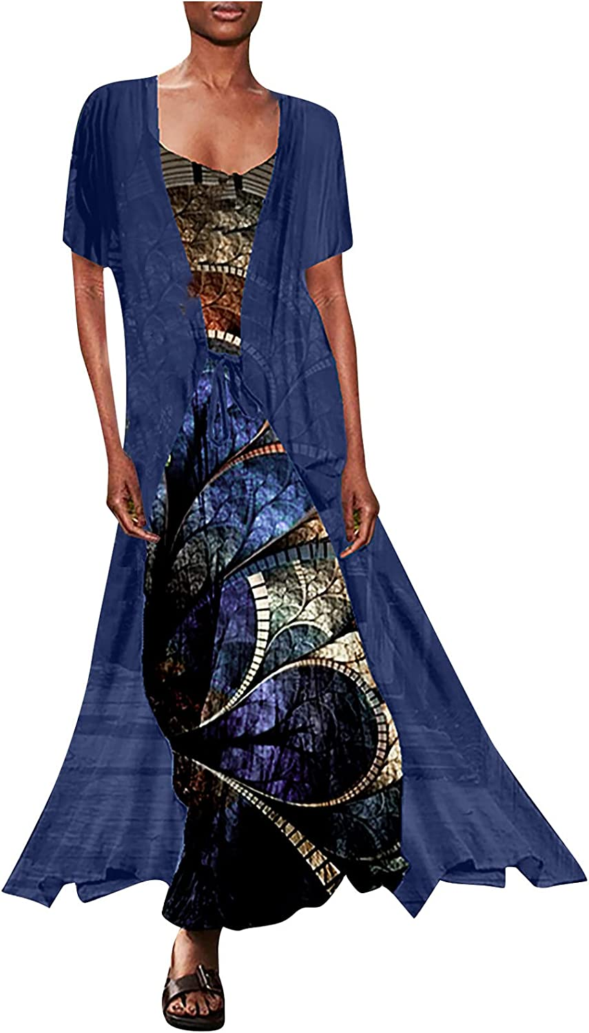 5665 2021 Summer Long Dress for Womens 2 PieceMaxi Flower Print V-Neck Beach Loose Dress Party Fashion Camisole Gown