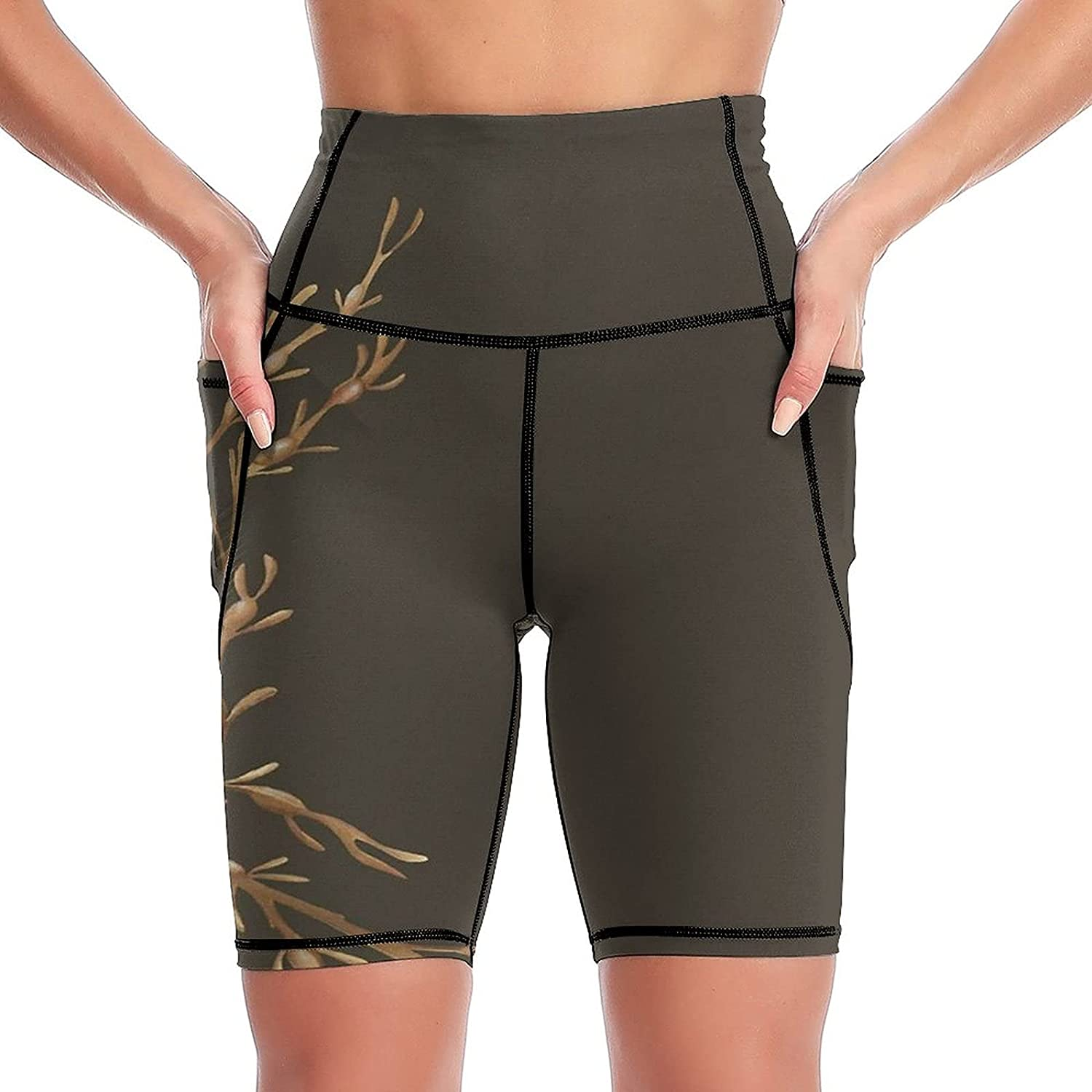 Shenghengyu Knotted Wrack Women's Super intense SALE Short Side Pockets W High Yoga Max 67% OFF