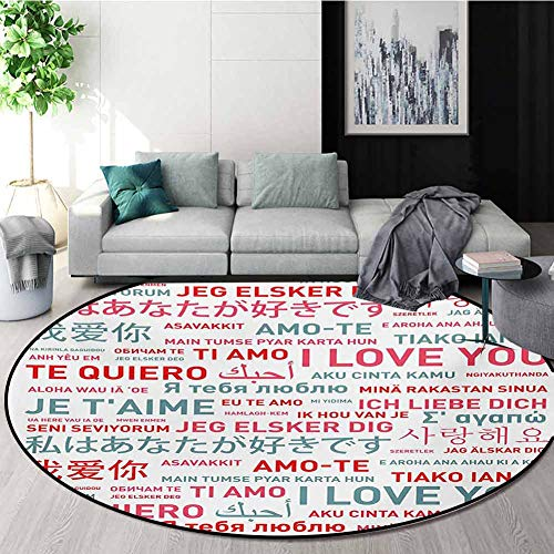 Amazing Deal RUGSMAT Love Rug Round Home Decor Area Rugs,Emotional Messages in Various World Languag...