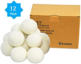 12-Pack Kevenz XL Premium Australian Wool Dryer Balls,Reusable Organic Natural Fabric Softener and Static Reducer Ball (White,12-Pack)