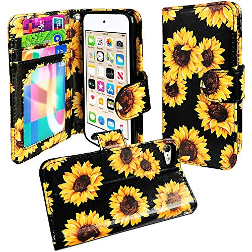 J.west iPod Touch 7th Generation Case, Sunflower iPod Touch Wallet case Floral Faux Leather Flip Case Cover with 3 Card Holder Kickstand and Wrist Strap for iPod Touch 5/6/7th Generation