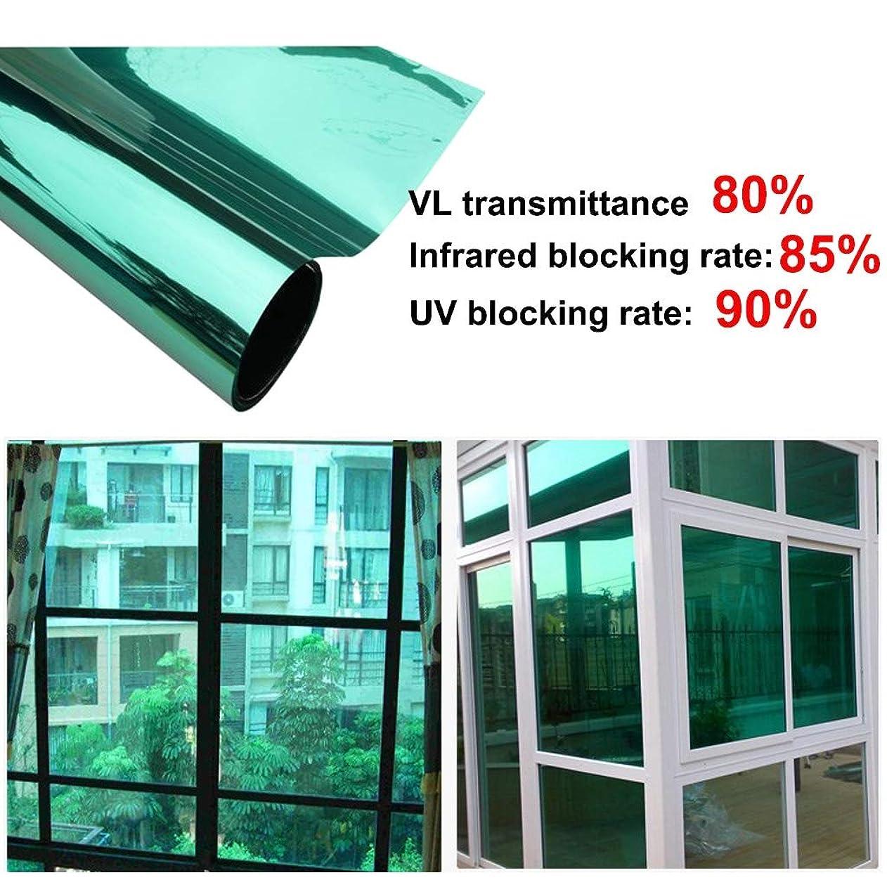 モットー料理をする散歩静電気絶縁フィルム 粘着式 窓ガラスフィルム プライベート 一方向 鏡 紫外線防御 (Color : Green(A), Size : 80*100cm)