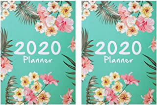 STOBOK A4 2020 Planner Agenda Schedule Notebooks Diary Notepads For Home School Office,Pack Of 2 (Green)