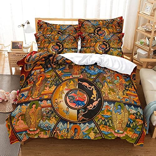 Ropa de cama de impresión simple de 3 piezas, Buda 3D impresión digital, funda de almohada, colcha de dormitorio para hombres y mujeres, cómoda microfibra suave (87 pies x 90 pulgadas)