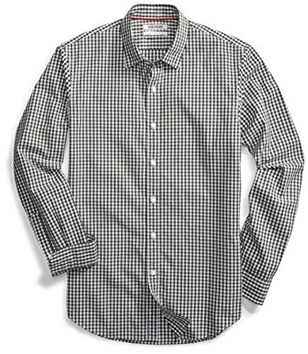 Amazon Brand - Goodthreads Men's Slim-Fit Long-Sleeve Gingham Plaid Poplin Shirt, Green/White, Small