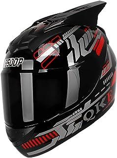 KKmoon Integralhelm Helm Motorradhelm DOT Zugelassen für den Schutz der Sicherheit beim Motorradrennen Rot Blau mit Sonnenblende