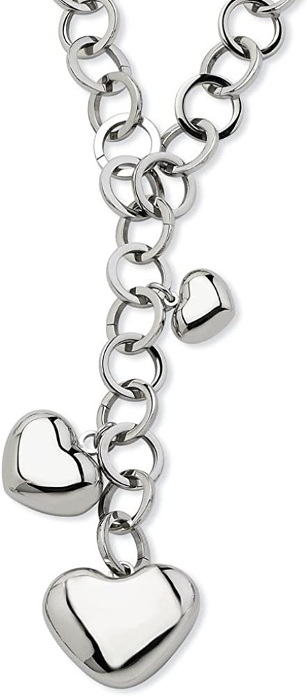 Stainless Steel Hearts with Y Shaped Necklace, 28