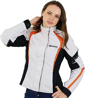 Nerve Artemis Damen Motorrad Jacke, Weiß/Schwarz, 38