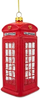 BestPysanky London Red Telephone Booth Blown Glass Christmas Ornament 5 Inches