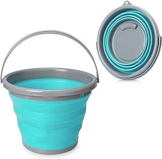 Navaris Cubo Plegable para Camping - Balde de Agua con asa de 10 L para Fregar Lavar Limpieza - Barreño Flexible para Viaje Playa Pesca - Azul y Gris