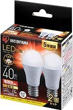 アイリスオーヤマ LED電球 口金直径17mm 広配光 40W形相当 電球色 2個パック 密閉器具対応 LDA4L-G-E17-4T62P