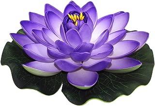 ZHU YU CHUN Large Artificial Floating Lotus Flowers, Home Garden Pond Aquarium Wedding Decor, Purple (Pack of 4)