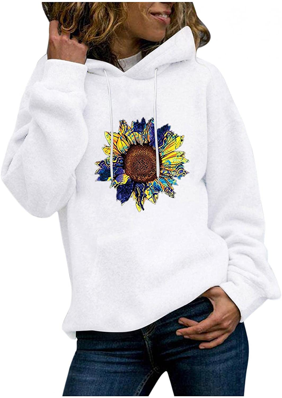 Masbird Hoodies for Women, Women's Long Sleeve Sunflower Printed Fall Hoodies Cute Plus Size Sweater Hoodies with Pocket
