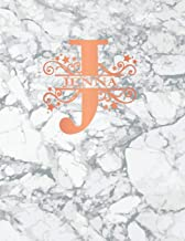 Jenna: Personalized Journal Notebook for Women or Girls. Monogram Initial J With Name. White Marble & Rose Gold Cover. 8.5
