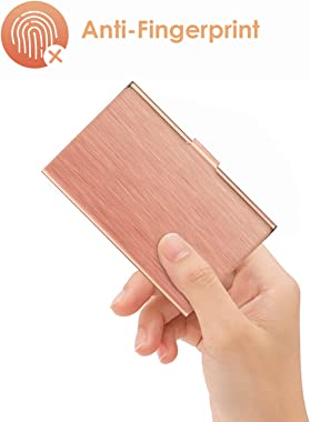 Metal Business Card Holder for Women or Men, Stainless Steel Business Card Case Wallet for Purse, 3.7 x 2.3 x 0.3 inches, Red