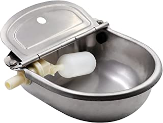 MUDUOBAN Stainless Steel Waterer Bowl with Scupper for Horse Dog Cattle Goat Sheep Pig Float Valve by Livestocktool