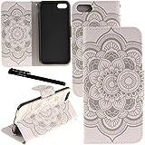 iPhone 7プラスケース Urvoixカードホルダースタンドレザーウォレットケース - (NOT iPhone7用)14センチメートルiPhone 7 Plus 白い花フリップカバー