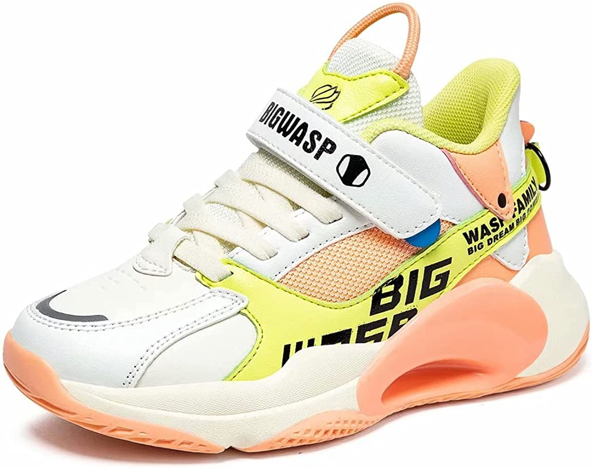 Big WASP Kids High Top Soft Non-Slip Sneakers Durable Boys Girls Outdoor Trainer Basketball Shoes(Little Kid/Big Kid)