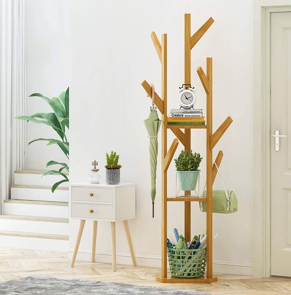 Free-Standing Coat Stand with 3 Wooden Hook Classic Sale price Max 67% OFF Shelves