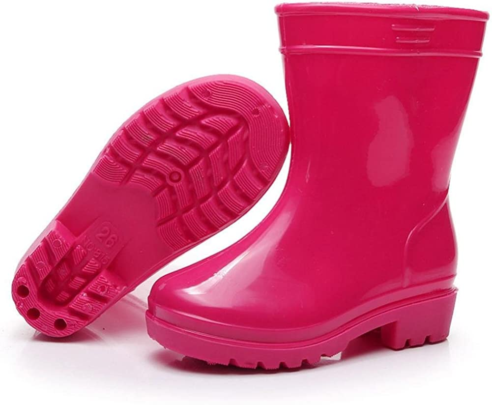KONFA Teen Toddler Baby Boys Girls Anti-Slip Rainshoes,Kids Waterproof Galoshes