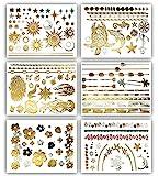 Terra Tattoos Tropical Hawaiian Metallic Tattoos - 75 Gold Silver Temporary...
