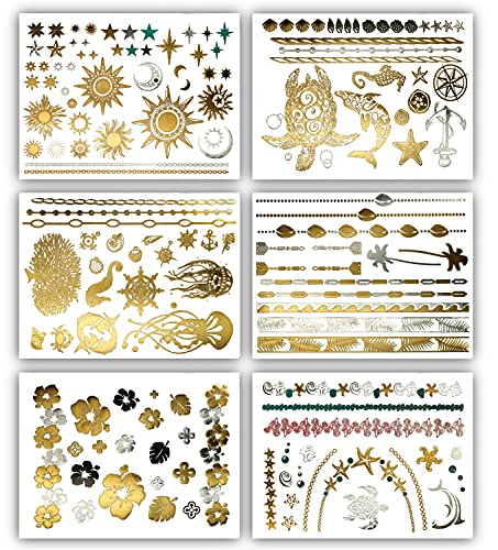 Terra Tattoos Tropical Hawaiian Metallic Tattoos - 75 Gold Silver Temporary Tattoos Turtles, Dolphins, Stars, Sun, Moon, Starfish, Seahorse, Coral, Palm Trees, Hibiscuses, Puka Shells & more!